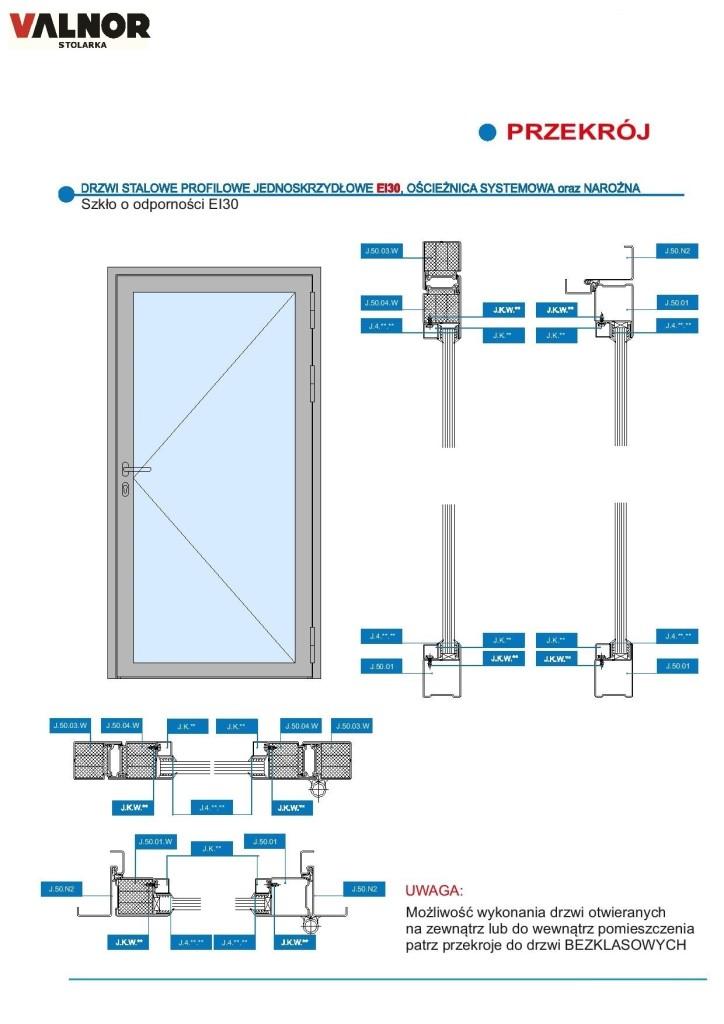 Drzwi 1 skrz. EI30 bez poprzeczki