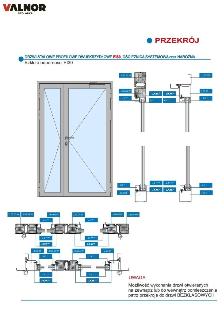 Drzwi 2 skrz. EI30 bez poprzeczki