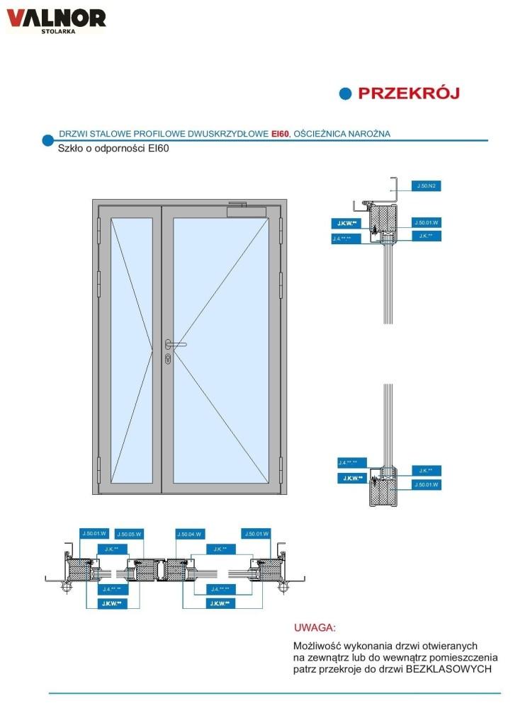 Drzwi 2 skrz. EI60 bez poprzeczki